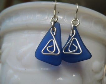 Beachglass inspired earrings dark blue antique glass wire wrapped