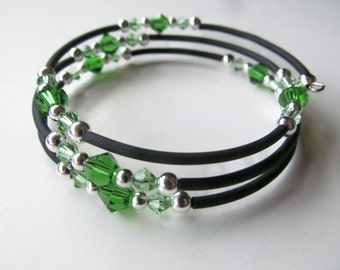 SALE Green Crystal and Black Beaded Memory Wire Bracelet - Small