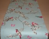 "Coffee Table Runner 48"" Pink Teal and Beige Birds Blossom Flowers Butterflies 4ft 120cm Duck Egg Beautiful Bird"