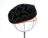 Vintage Elsa Schiaparelli Hat Black Velour Pillbox 1950s Mid Century Fashion Beaded Designer Accessories Copper Italian Haute Couture