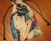 Tiny Tote Pouch Purse Organizer Ukiyo-e Utamaro Geisha Design