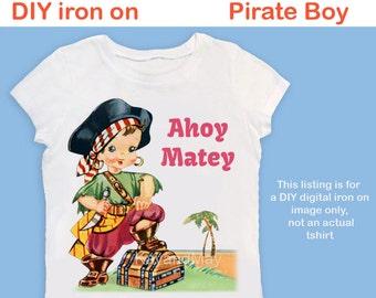 Pirate iron on transfer - cute printable treasure island boy ironon birthday shirt toddler clothes Tshirt & more - PDF instant download #59