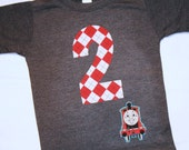 Boys Second Birthday Number 2 Shirt - Thomas and Friends James - short sleeve heather gray shirt with number 2 in red and white argyle