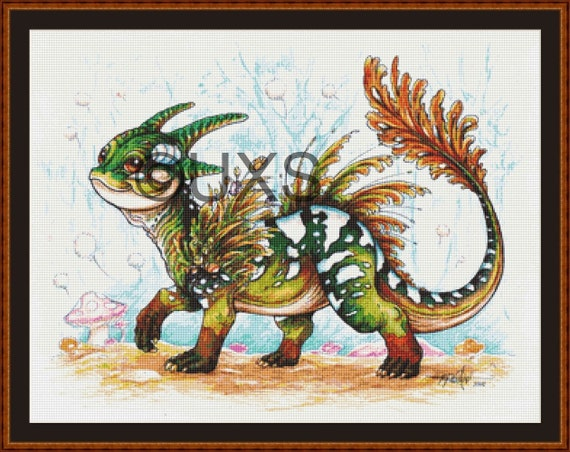 Baby Forest Dragon Cross Stitch Pattern Modern Counted Cross