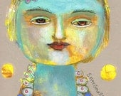 Mixed Media Painting Original Modern Folk Art  Ethereal dream colour Portrait face