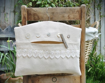 Buttons and Lace Clothespin Bag / Peg Bag