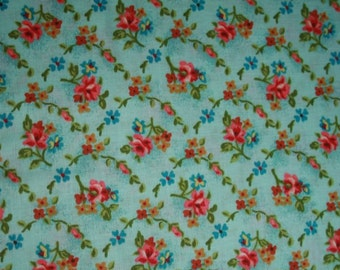 Aqua Red Floral Diamonds cotton fabric by the yard
