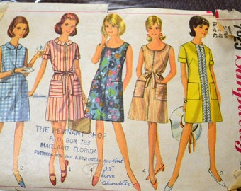 Vintage 1960s Sewing Pattern Simplicity 7025  Miss Dresses Bust 42 COMPLETE