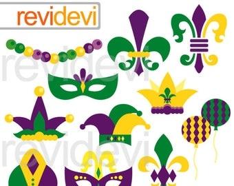 Mardi Gras Clip art - Celebrate Mardi Gras clip art 08159 - Yellow, Green, Purple - Mardi Gras Clipart