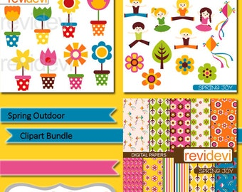 Flowers and kids jumping clipart and digital papers - Spring outdoor clip art bundle - flowers in pots - commercial use clipart