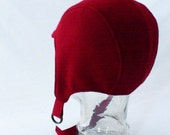 Red Wool and Cashmere Aviator Hat - Womens, Girl's Hats, Warm Hat, Winter Hat, Not Knit Aviator, Holiday Red, Winter Style, Winter Cycling