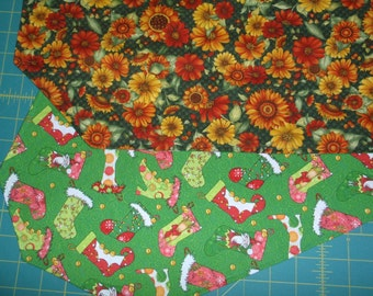 Table Runner Fall Floral / Christmas Stockings Reversible