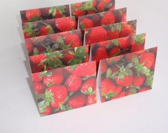Mini Cards 10 Strawberries  - blank for thank you notes 3 x 2 3/4