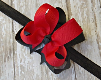 Red and Black Headband Double Layered Infant Toddler Bowband Baby Headband Red & Black Baby Headband UGA Inspired Headband Bow