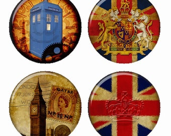 British Collection Magnets or Pinback Buttons or Flatback Medallions Set of 4