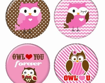 Owl Love You Owls in Pink and Brown Magnets or Pinback Buttons or Flatback Medallions Set of 4