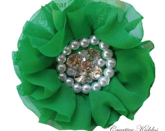 Flower Hair Clip / Emerald Green Chiffon Flower with Rhinestone and Pearls / Christmas Clip