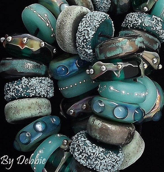 DSG Beads Debbie Sanders Artisan Handmade Organic Lampwork Glass - Made To Order ~Underwater Courtyard~ Disc Set