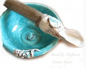Ceramic Spoon Coastal Beach style  Aqua Seahorse Hand Sculpted with driftwood handle