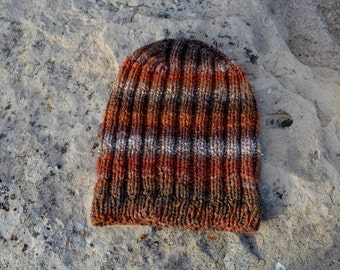 Autumn Rust & Leaves Knit Hat - Hand Knit One of a Kind Hat in Handspun 100% Polwarth Wool. Women or Men's Knit Hat, Traditional Watchcap