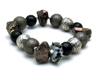 Brown Black Sterling Silver Chunky Boho Beaded Bracelet, Boutique Wearable Art, Luxe Fashion Statement, For Her Under 400