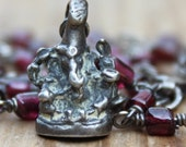 Custom for Marta Sterling Silver Ganesh and Garnet Wire Wrapped Necklace