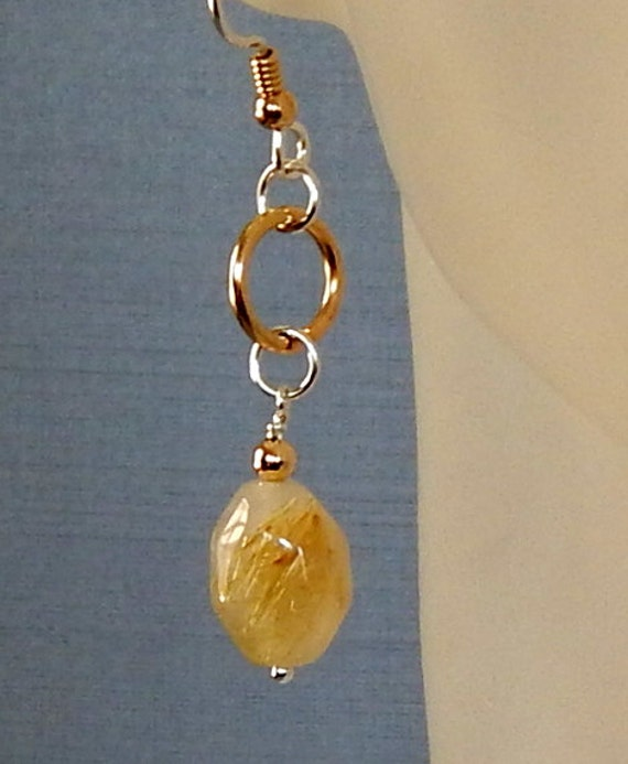 Gold rutilated quartz earrings quartz nugget by for Golden rutilated quartz jewelry