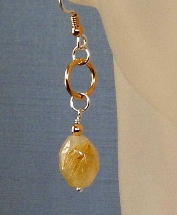 Gold rutilated quartz earrings quartz nugget by for Golden rutilated quartz jewelry
