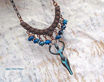 blue Statement necklace Fertility Goddess Bib necklace under 50 dollars Patina Copper Statement jewelry Bohemian jewelry