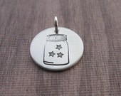 Hand Stamped Mason Jar Charm Jar Of Stars Sterling Silver Charm