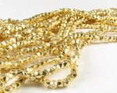 2.5mm Rounded Square 24 Karat Gold Vermeil Brushed Nugget Spacer Beads (20 beads)