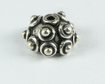Raised Dots Bali Sterling Silver Bead Caps 9mm  bead caps for Jewelry Design, Beading Supplies (2  beads caps)