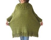 Over Size Tweed Green Turtleneck Sweater with Fringe Plus Size