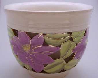 Wheel Thrown Ceramic Double Wall Bowl, One of a Kind, Clematis