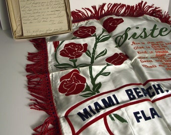 Souvenir Pillow Miami Florida SISTERS  Armed Forces Bonus Handwritten Letter Collectible Fringed PIllow Cover Home Decor 1940s