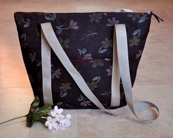 Beautiful denim tote bag, navy blue floral zippered tote purse with pockets, womens handbags, one of a kind bag, shoulder bag with pockets