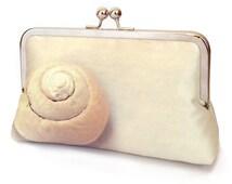 Clutch bag, shell purse, Scottish sea shell, beach wedding, bridesmaid gift, printed silk, SPIRAL SHELL