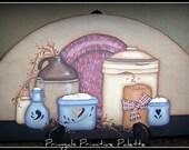 Door Crown/Topper Primitive Crocks Candles Hand Painted Art Home Decor