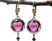 XOXO Sweet Heart Round Earrings Valentine or Anytime