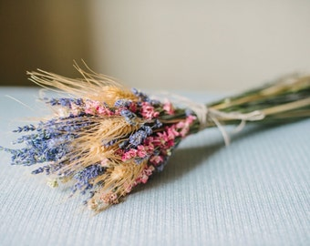 Golden Summer Fall Wedding  Bridesmaid Bouquet of Lavender Coral Peach Larkspur and Wheat