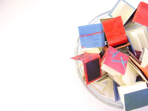 Mini Book Magnet Set of 6: Your own mini library, red blue green purple mini book magnets