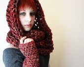 SET fingerless gloves Ombre Cowl Hood scarf sage green amber burnt orange Cranberry coral