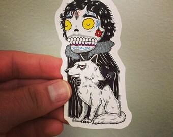 Jon Snow Calavera Die Cut Vinyl Sticker Day of the Dead