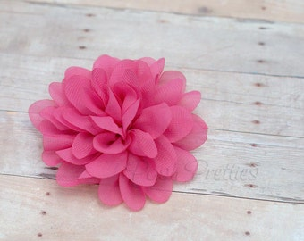 Hot Pink Flower Hair Clip - Petal Flower- Flower Hair Clip - Alligator Clip - With or Without Rhinestone Center