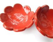 Ceramic Flower Dish- Food prep- Jewelry bowl- Ring holder- earring dish- Coral Flower trinket bowl