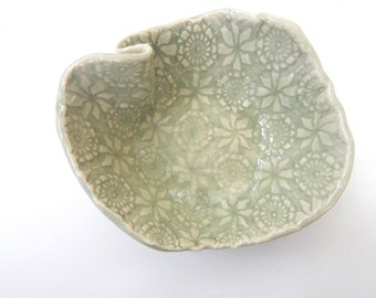 Ceramic  bowl-  Lace Textured- Serving Dish- Lace Pottery- Food prep