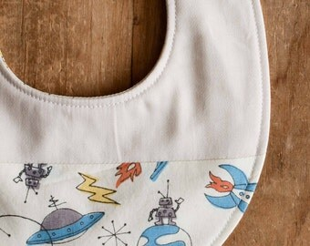 Rocket Ship Drool Bib, Spaceship Baby Bib, Robot Bib for Baby Boy, Space Newborn Baby Bib Gift, Organic Baby Shower Present in ROCKETS AWAY