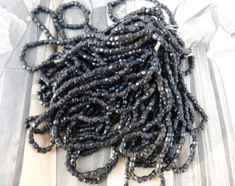 Vintage  Antique 1900 French Victorian hank of faceted black jet beads