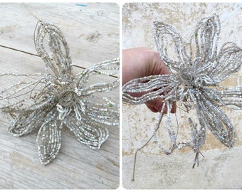 Vintage Antique 1900/1920 French timeworn white beaded flower on long stem/beadwork