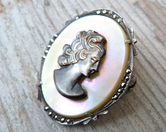 reserverd to Kristen Vintage Antique 1900/1930 old French Sterling shell carved & marcassite cameo brooch/pendant